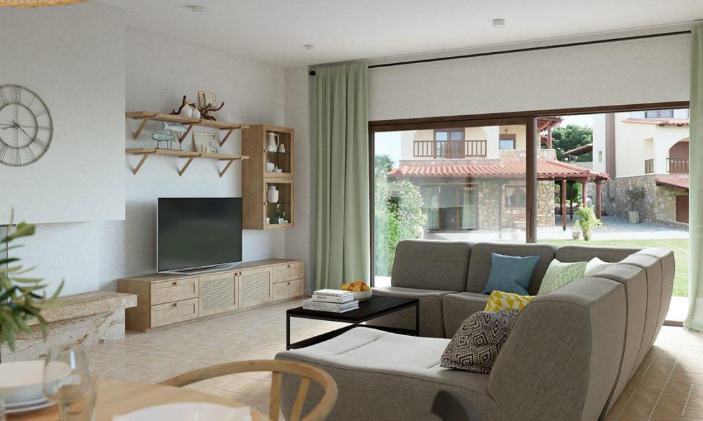 Дизайн гостиной дома в Греции